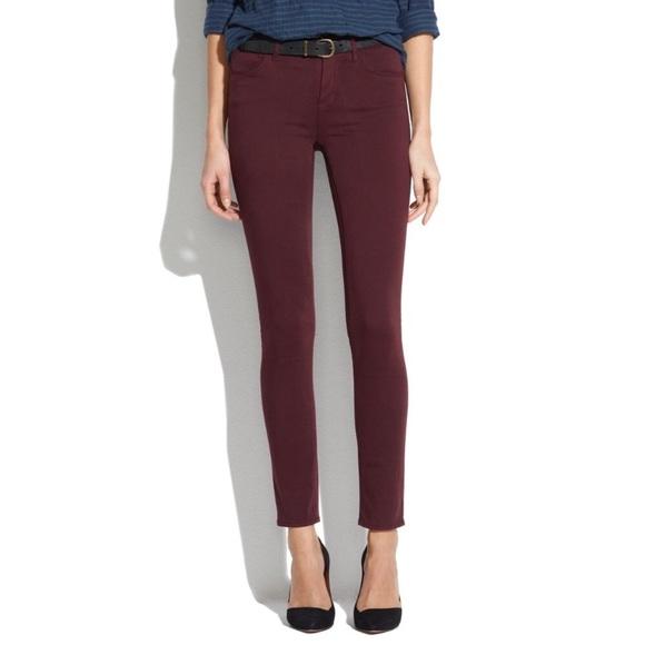 8b2612e15ef Madewell Denim - Madewell Burgundy Skinny Skinny Jeans 27